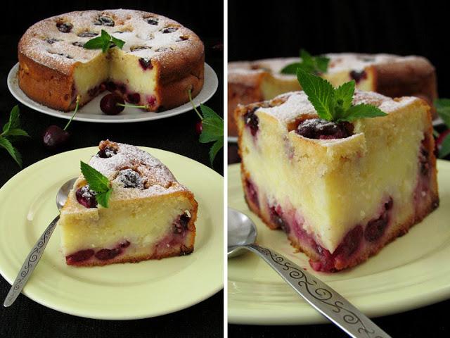 Пирог с начинкой из пудинга и черешни