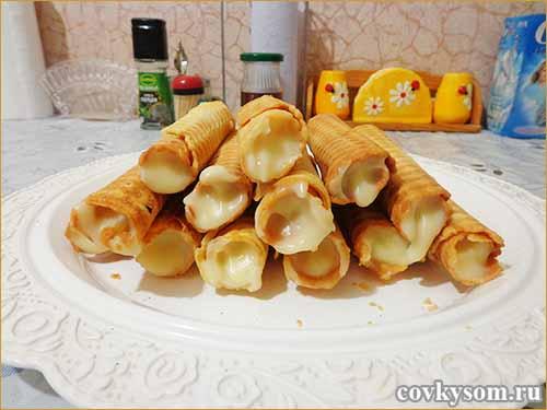 Вафельные трубочки с заварным кремом рецепт с пошагово