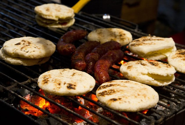 Arepas filled with butter and salty cheese