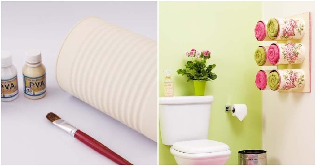 Декоративные ящички для хранения полотенец из жестяных банок