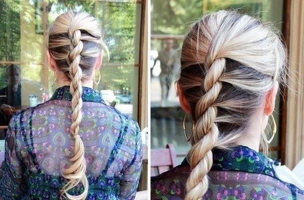 """Оригинальная коса """"Верёвочка"""""""