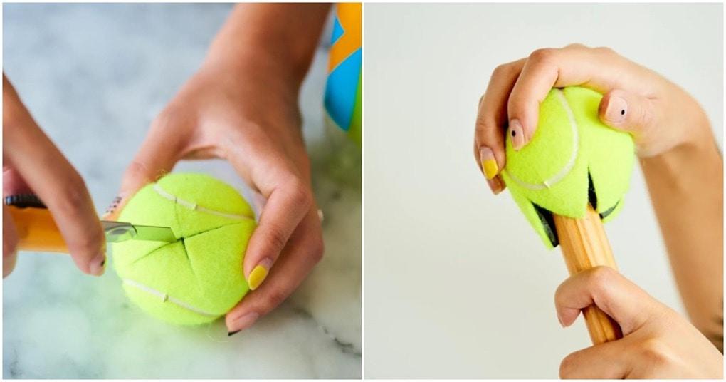 Прикрепите теннисный мяч к швабре и получите сверхмощный инструмент для очистки пола