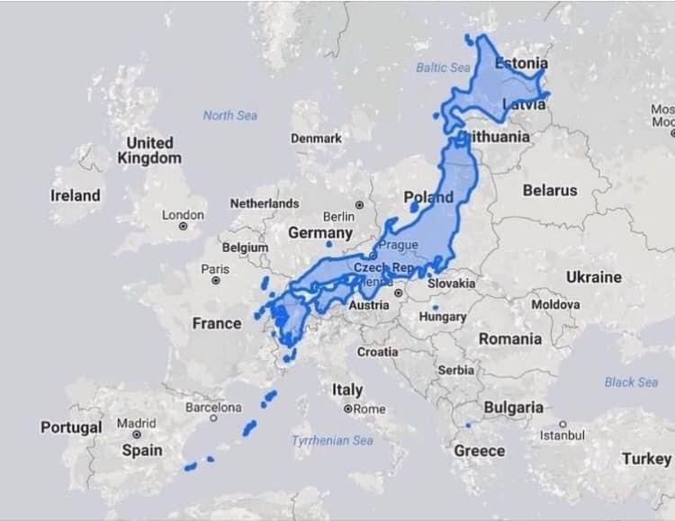 Реальные размеры маленькой Японии