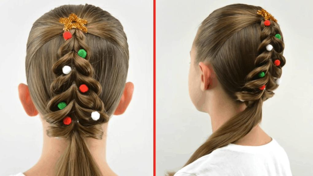Новогодняя елочка на волосах: простая, но эффектная прическа на Новый Год