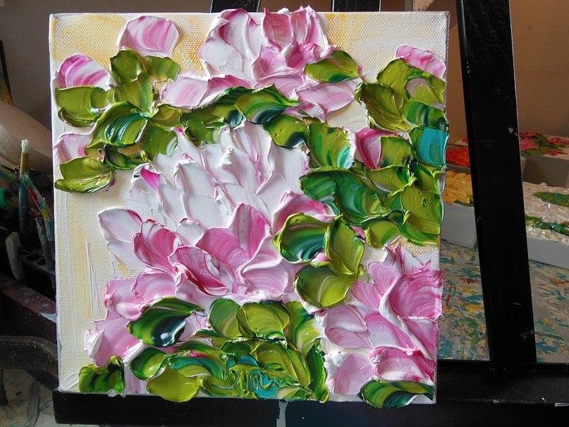 Трехмерные цветы из краски американской художницы Jan Ironside.  Такие невозможно сотворить с помощью кисти!