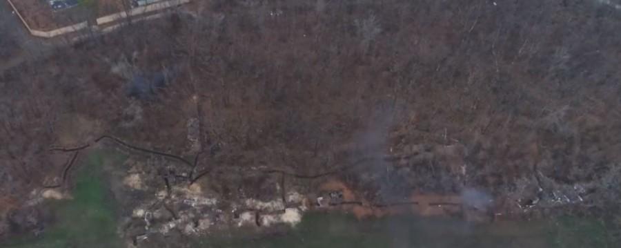 Видео с БПЛА. Обстрел позиций ДНР