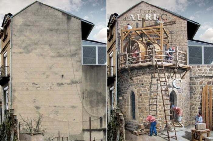 Удивительный стрит-арт: французский художник наполняет скучные стены зданий яркой жизнью (Patrick Commecy & A.Fresco). | Фото: istina.russian-albion.com.