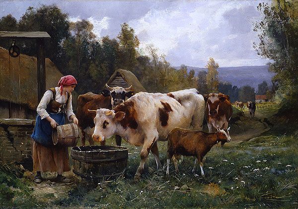 woman watered cows
