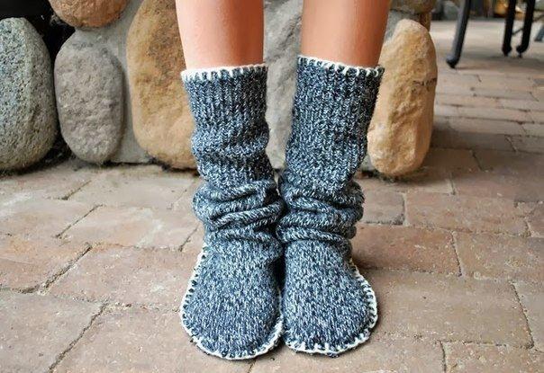 Носки с подворотом сделано своими руками