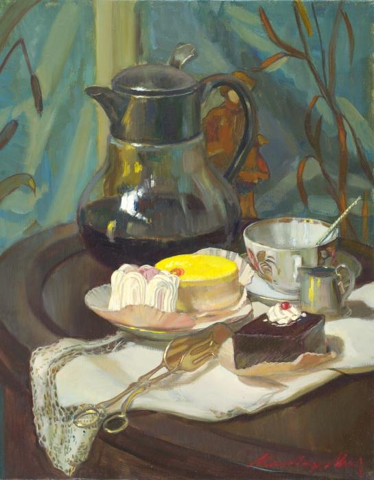 Натюрморт с лимонным пирожным. Автор: Молодых Мария.