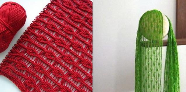 Удивительно красивое вязание спицами узора «Капли дождя»…