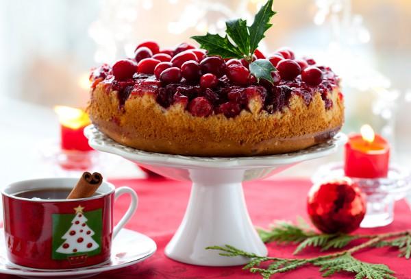 Перевернутый клюквенный пирог к Новому году и Рождеству