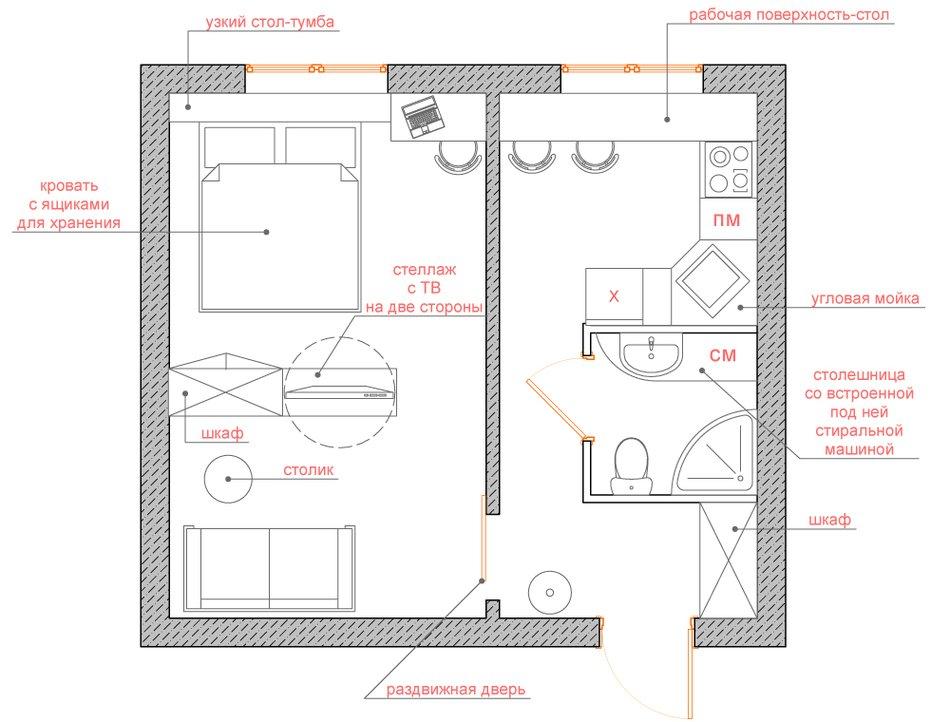 Перепланировка недели: однокомнатная квартира в панельном до.