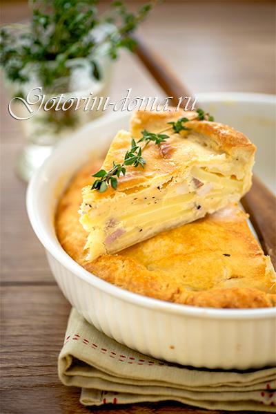 Пирог (киш) с картофелем и копченой грудинкой