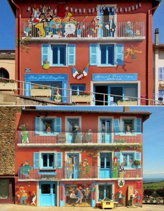 Фасад здания, нарисованный Патриком Коммеси по мотивам персонажей знаменитого романа Габриэля Шевалье «Клошемерль» (1934). | Фото: amusingplanet.com.