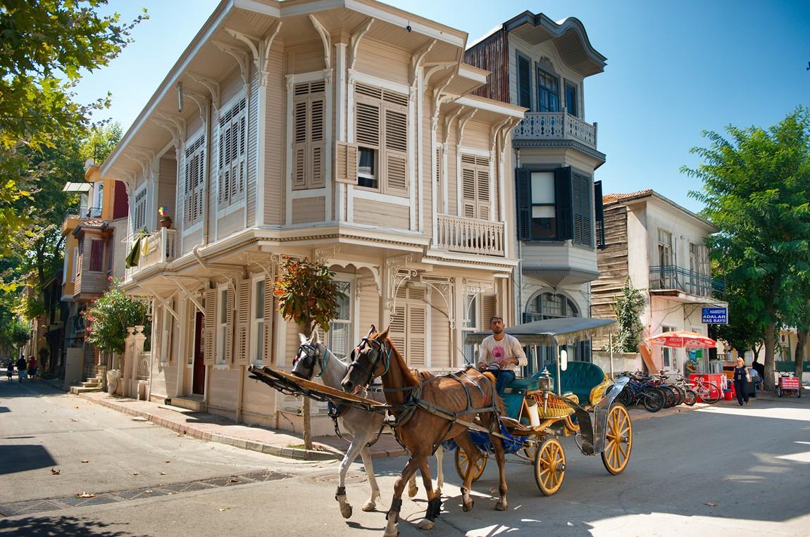 Туристов по острову развозят конные упряжки
