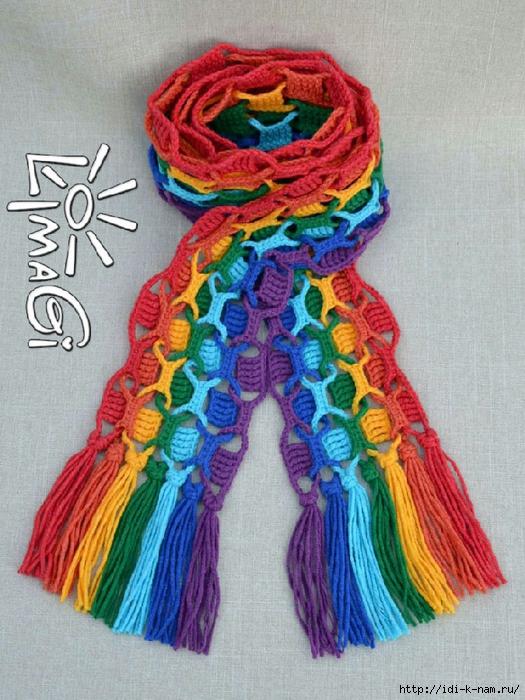 как связать оригинальный радужный шарфик, вязаный радужный шарфик, схема вязания оригинального радужного шарфика,
