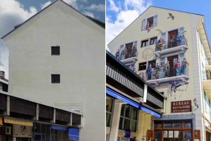 Patrick Commecy и муралы студии A.Fresco расписывая стены не эстетично спроектированных зданий, полностью меняют реальность. | Фото: christianlegac.over-blog.com.