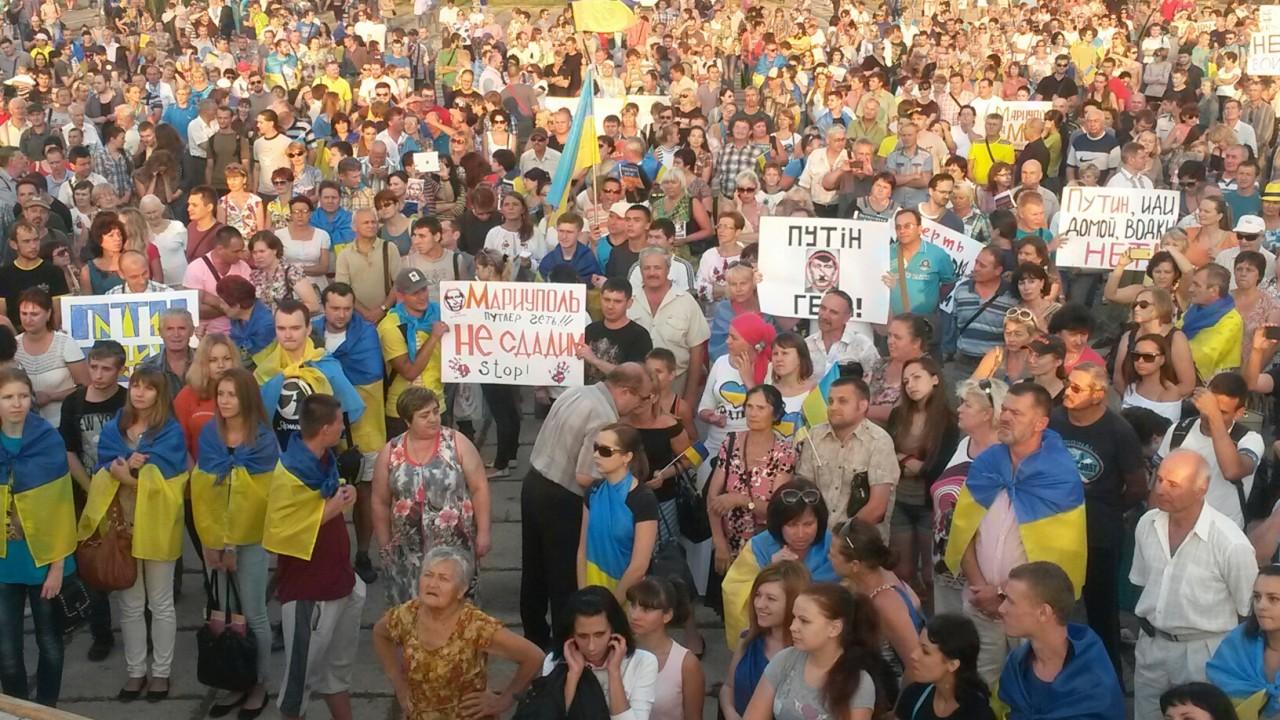 Митинг в Мариуполе против оккупации российскими войсками