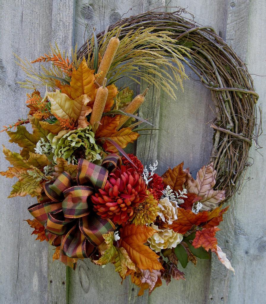 Осеннее экибано из природного материала своими руками фото
