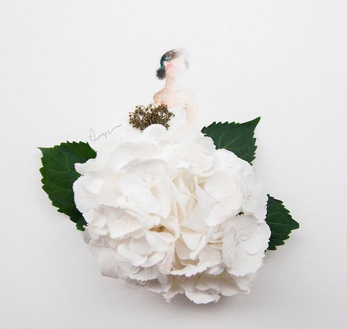 Художница Лим Чжи Вэй (Lim Zhi Wei) использует цветы вместо платьев
