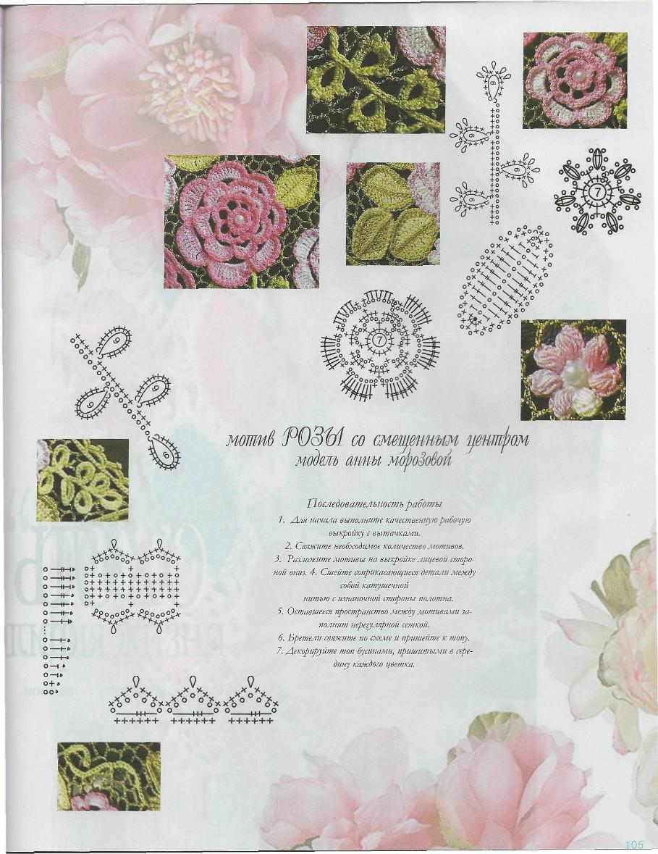 Ирландское кружево схема роза