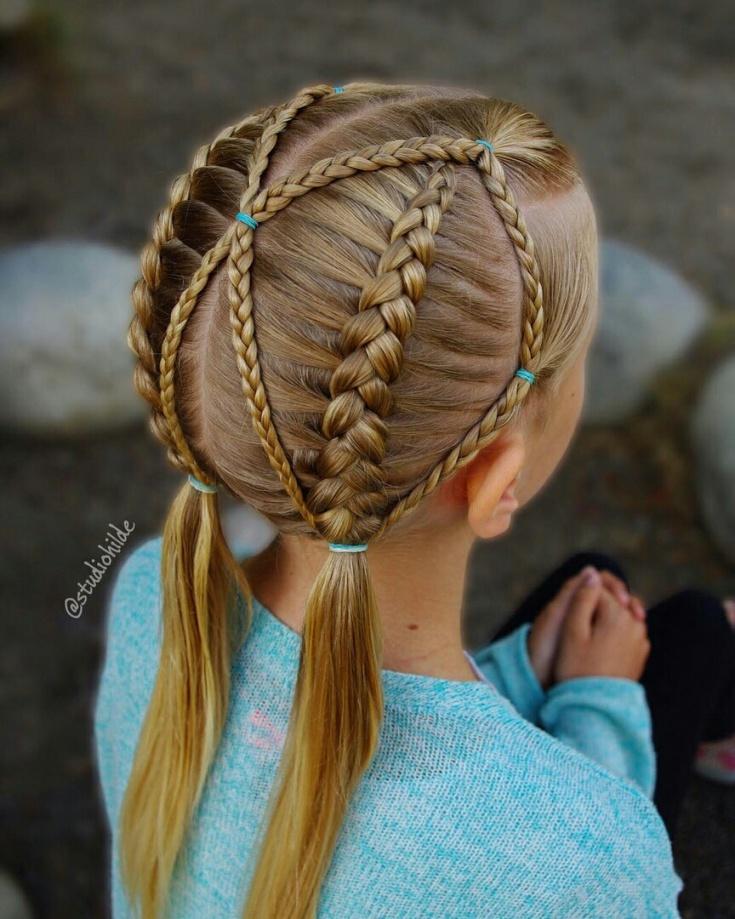 Модные дети с креативным головками