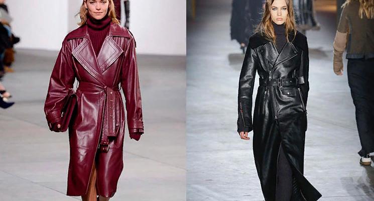 Модные кожаные плащи 2019