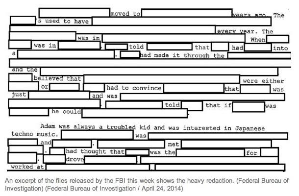 Redacted FBI report on Sandy Hook