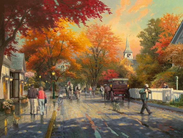 Осень - пора ярких впечатлений, встреч и прогулок. Автор: Thomas Kinkade.