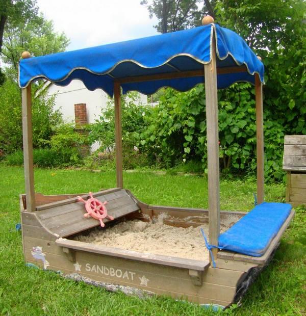 Детская песочница корабль фото