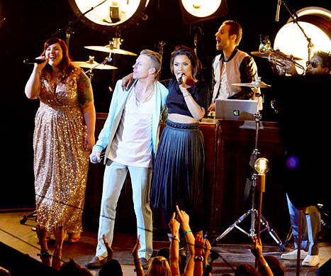 Macklemore, Ryan Lewis, Jennifer Hudson and Mary Lambert perform onstage during the 2013 MTV Video Music Awards at the Barclays Center on August 25, 2013 in the Brooklyn borough of New York City.