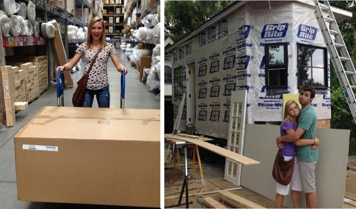 Молодая пара построила дом за три месяца.