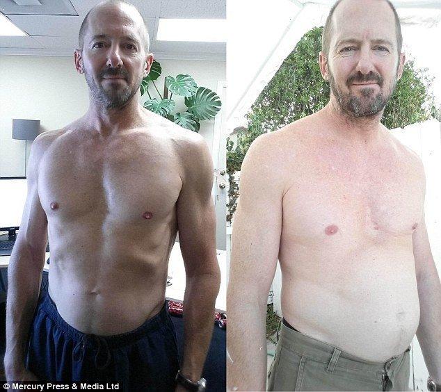 Самым существенным изменением Джордж назвал свой вес. Он набрал почти 10 кг - его вес увеличился с 67 до 76 кг. Он также утратил часть мышечной массы. вредная еда, здоровые, кока-кола, кола, сахар, фото, шок, эксперименты