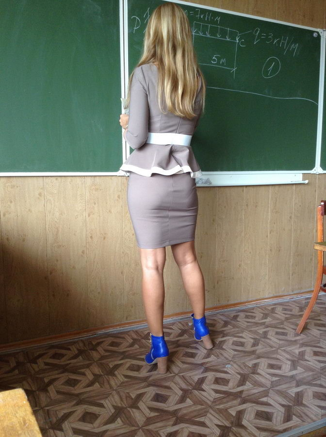 Учительница в юбке трахнула ученика