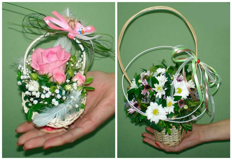 Корзина из живых цветов своими руками пошагово, букет белой