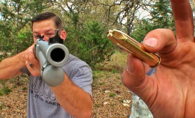 Пробуем разрезать пулю выстрелом в лезвие ножа. Видео