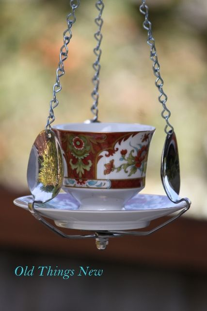 This is a cool way to use some pretty old spoons and cup and saucer.