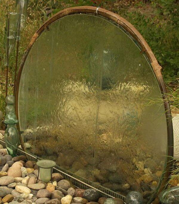 Фонтан из старого стеклянного стола своими руками
