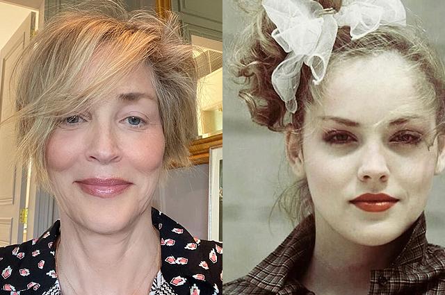 В сети сравнивают новое селфи Шэрон Стоун с фото актрисы в 19 лет