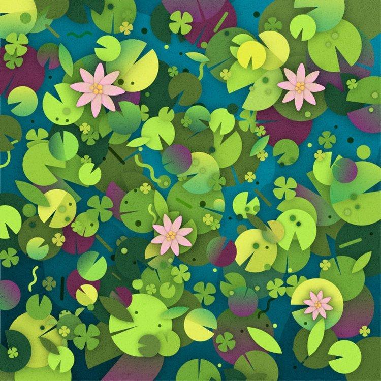9. Найдёте черепаху среди листьев водяных лилий? головоломки, задача, иллюзия, интернет, прикол