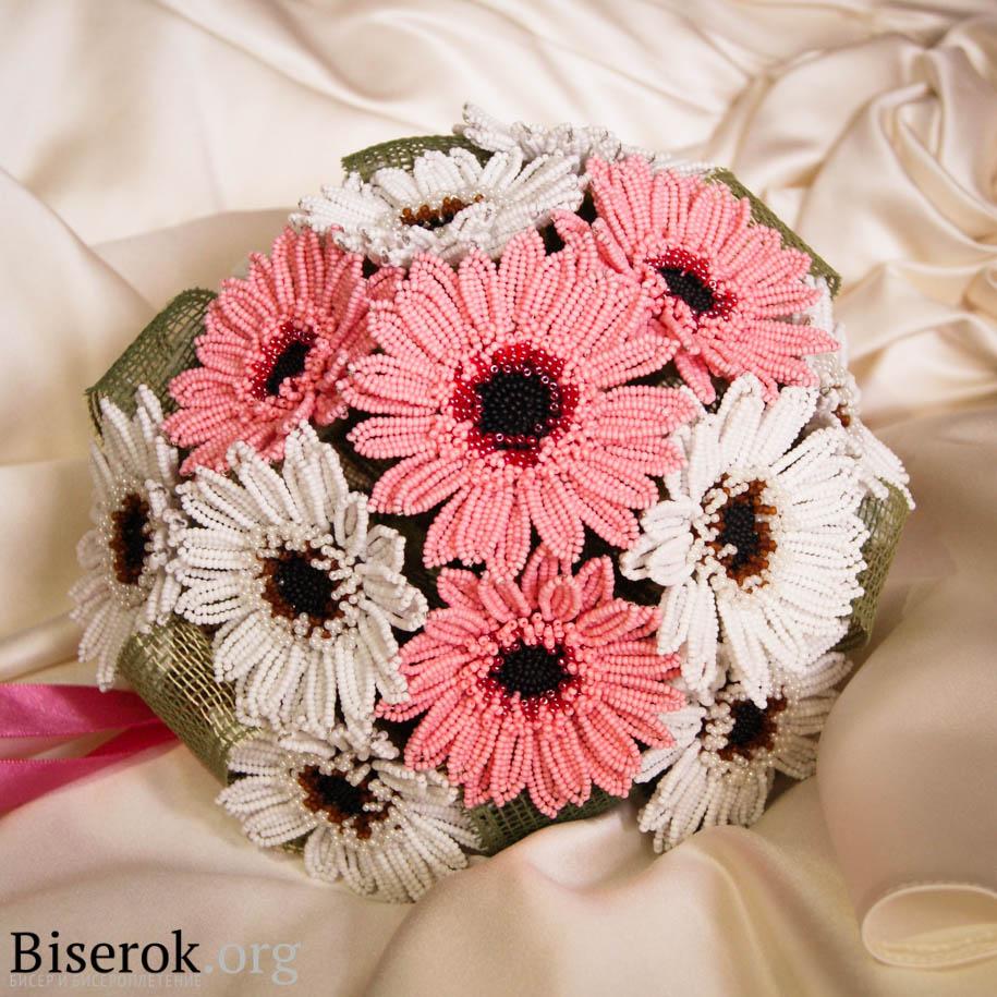 Свадебный букет «Герберы» Цветы из бисера