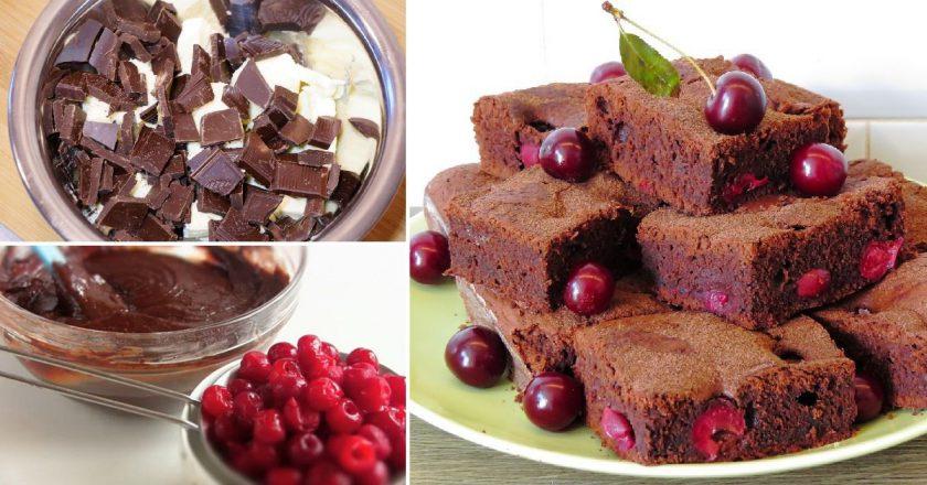 Шикарный десерт к чаю: шоколадный брауни с вишней