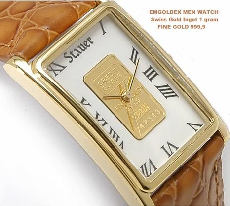 Подробные сведения о кварцевые наручные часы с золотой слиток emgoldex- без перевода.