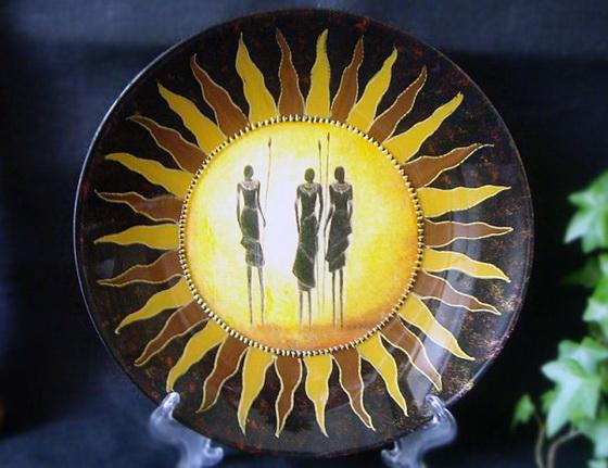 Декоративная тарелка «Масаи». Мастер-класс по декупажу на стекле