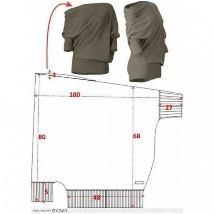 Выкройка интересной трикотажной блузки выкройка,шитье