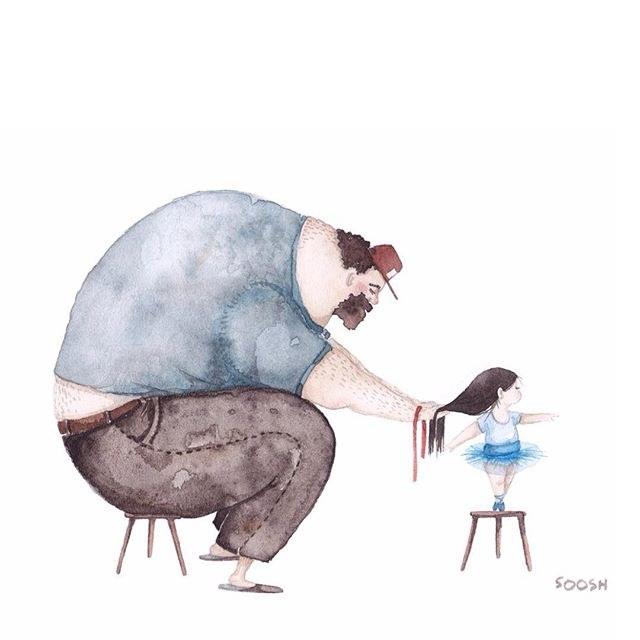 Надписью обои, папа с дочкой картинки рисованные