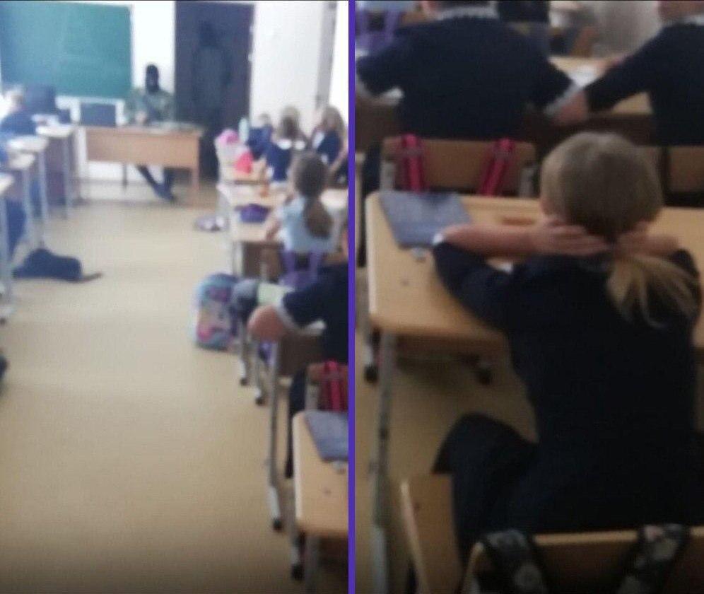 Педагоги средней школы в Тюменской области провели для детей учения по борьбе с терроризмом.