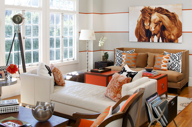 contemporary living room with light gray orange and white striped walls