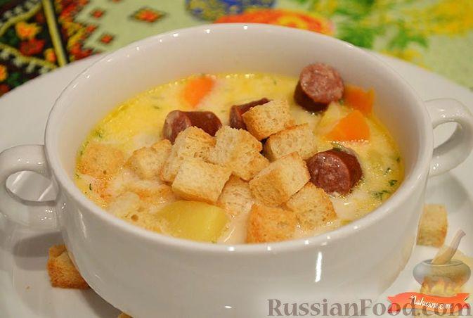Сырный суп с копчеными колбасками